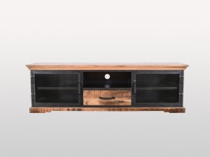 Metal Factory Industrial Indian Solid Wood Tv Unit Media Console