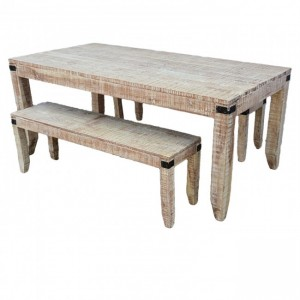 Metal Factory Dining Bench Setting 1.6m White