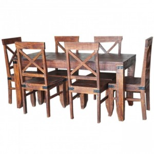 Metal Factory Dining Setting 1.6m Brown