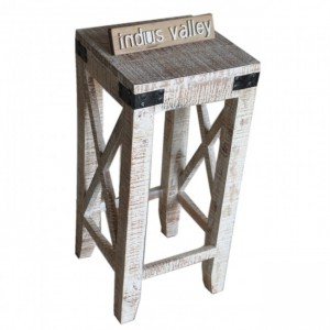Metal Factory Reclaimed timber Bar Stool White