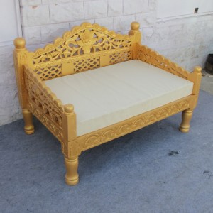 Mughal Garden Hand Carved Balinese Daybed Golden