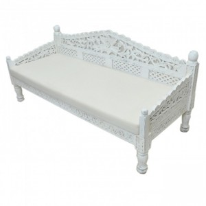 Mughal Garden Hand Carved Balinese Daybed White L