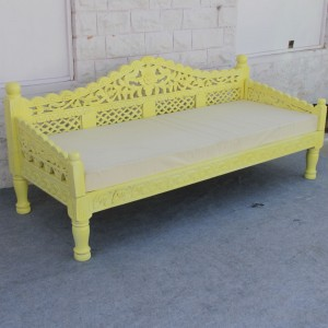 Mughal Garden Hand Carved Balinese Daybed Yellow L