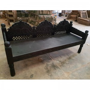 Mughal Garden Hand Carved Indian Daybed Chocolate 180cm