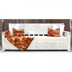 Mughal Garden Hand Carved Rustic Floral Daybed White