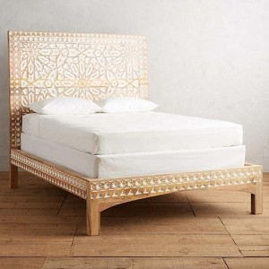 Mughal Garden Geometrical Carved Natural Bed Frame 2 Tone