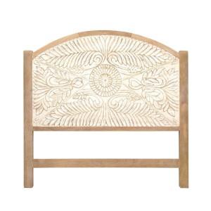 Mughal Carved Panel Bedhead Whitewash