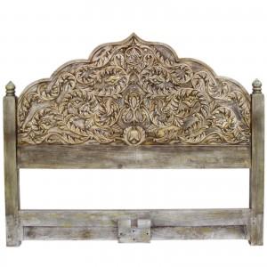 Mughal Carved Panel Bedhead Greenwash