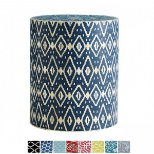 Maaya Bone Inlay Round drum Side Table Blue Diamond L