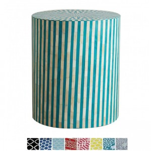 Maaya Bone Inlay Round drum Side Table Teal Striped L
