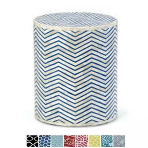Maaya Bone Inlay Round drum Side Table Blue Zigzag L