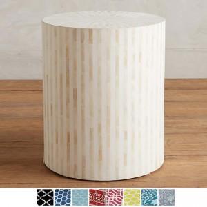 Maaya Bone Inlay Round drum Side Table White Striped L