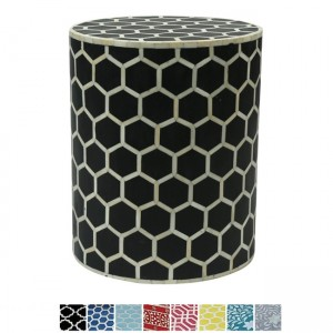 Maaya Bone Inlay Round drum Side Table Black Honeycomb L