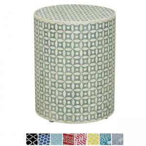 Maaya Bone Inlay Round drum Side Table Grey Geometry L