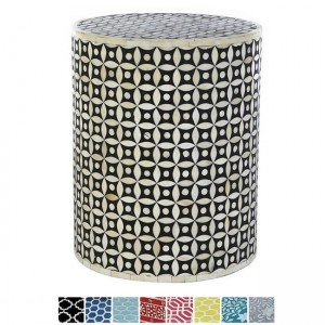 Maaya Bone Inlay Round drum Side Table Black Geometry L