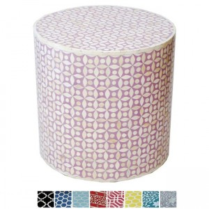 Maaya Bone Inlay Round drum Side Table Pink Geometry L