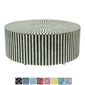 Maaya Bone Inlay Round drum Coffee Table Black Striped