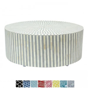 Maaya Bone Inlay Round drum Coffee Table Grey Striped