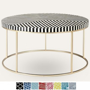 Maaya Brass Bone Inlay Round base Coffee Table Black