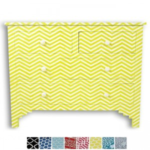 Maaya Bone Inlay Chest of 4 drawers Yellow Chevron Zigzag