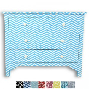 Maaya Bone Inlay Chest of 4 drawers Blue Chevron Zigzag