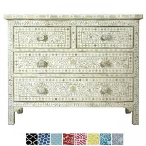 Maaya Bone Inlay Chest of 4 drawers dresser White floral