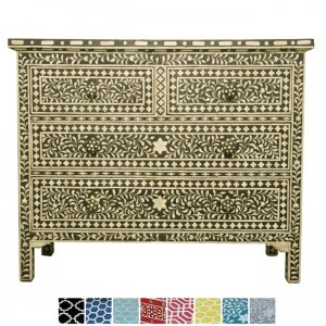 Maaya Bone Inlay Chest of 4 drawers dresser Black floral