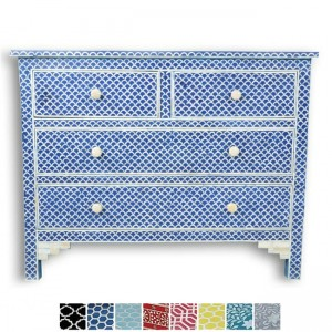 Maaya Bone Inlay Chest of 4 drawers dresser Blue Fishscale