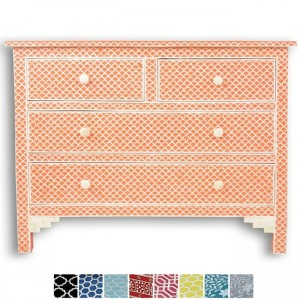 Maaya Bone Inlay Chest of 4 drawers dresser Orange Fishscale