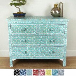Maaya Bone Inlay Chest of 4 drawers Blue Mother of pearl