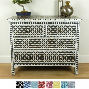 Maaya Bone Inlay Chest of 4 drawers Black Mother of pearl