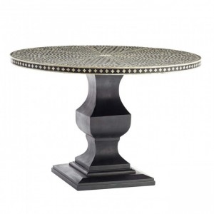 Maaya Bone Inlay Solidwood Round Pedestal Dining Table