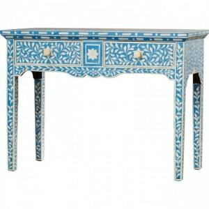 Maaya Bone Inlay 2 Drawers console desk hall table Blue