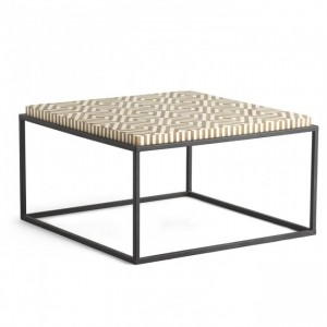 Maaya Bone Inlay Square Coffee Table on metal stand