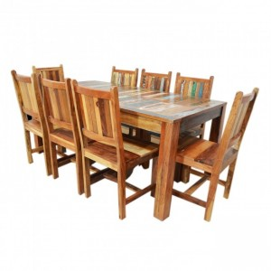 Nirvana Reclaimed 8 Seater 9pc Dining Setting 180x90cm