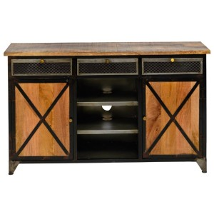 Miller Factory Industrial Wooden Tv Stand Media Cabinet Natural
