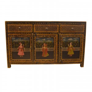 Mughal Hand Painted Wooden Sideboard