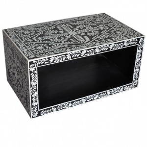 Pandora Bone inlay Black Floral Coffee Table