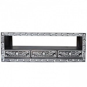 Pandora Bone inlay Black Floral 3 Drawer TV Unit