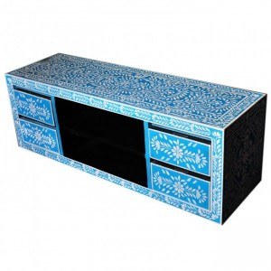 Pandora Bone inlay Blue Floral 4 Drawer TV Unit