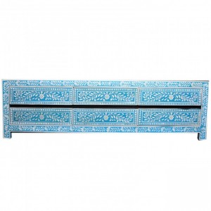 Pandora Bone inlay Blue Floral 6 Drawer TV Unit