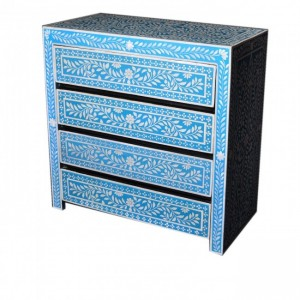Pandora Bone inlay Blue Floral Chest of Drawer