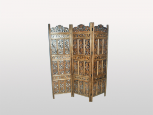 Jali Hand Carved Indian 3 Panel Screen Brown