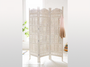 Jali Hand Carved Indian 3 Panel Screen White