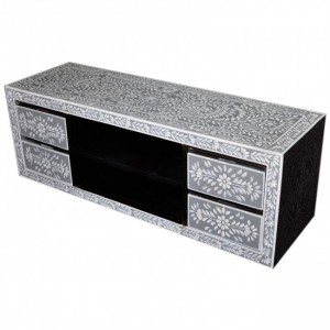 Pandora Bone inlay Grey Floral 4 Drawer TV Unit