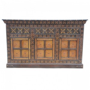 Indian Embossed Antique Brass work Solid wood Brown Gold 3 Door Sideboard