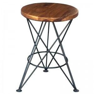 Takat Metal Jali Natural Solid Wood Small Star Bar Stool