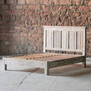 Rainbow Rustic Old Reclaimed Timber Carved Bed Frame White wash