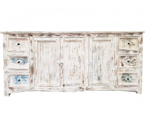Rustica Reclaimed wood boat timber sideboard Buffet White 200x50x90cm