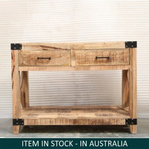 Metal Factory Timber Console Table Natural 2 Drawers 100x40x75 cm
